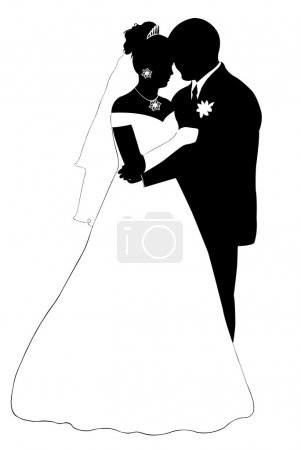 Illustration for Wedding couple silhouette isolated on white - Royalty Free Image