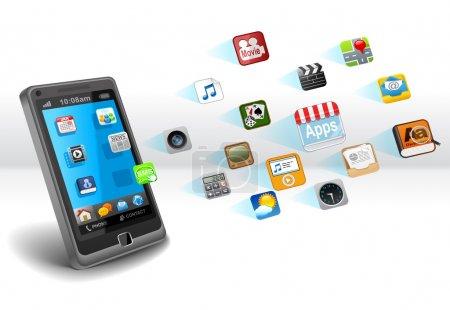 Photo pour Smartphone avec les applications - image libre de droit