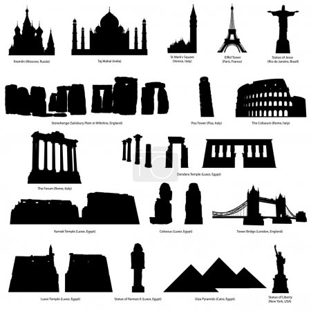 Photo for High Detail landmarks silhouette set with descriprion of title and place. Vector illustration. - Royalty Free Image