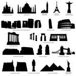 High Detail landmarks silhouette set with descripr...