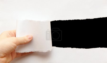 Photo for Black background visible through the gray paper wrapped - Royalty Free Image