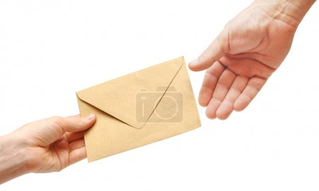 Photo for Woman's hand passes the envelope male hand - Royalty Free Image