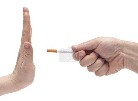 Photo for Non smoking woman saying his partner to stop smoking - Royalty Free Image