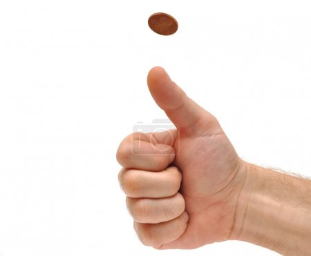 Photo for Man's hand throwing up a coin to make a decision on white - Royalty Free Image
