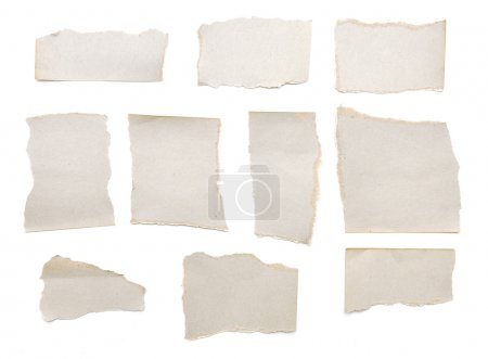 Photo for Collection of grey ripped pieces of paper on white background. each one is shot separately - Royalty Free Image