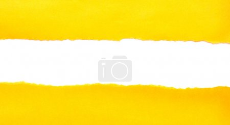 Photo for Yellow torn paper on white background - Royalty Free Image