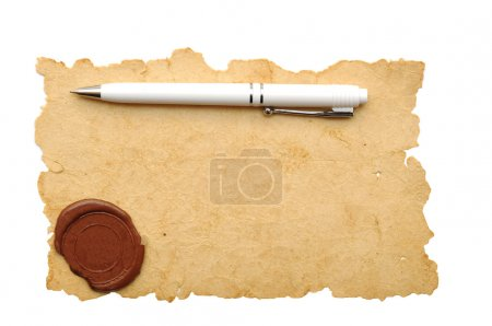Photo for Ballpoint pen on old paper with seal wax - Royalty Free Image