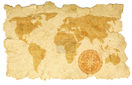 Photo for World map with compass on old paper - Royalty Free Image