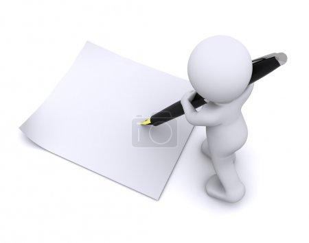 Photo pour Petit personnage 3d écrire une carte avec grand penisolated sur blanc - image libre de droit
