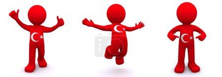 Photo pour Personnage 3D texturé avec le drapeau de la Turquie isolée sur fond blanc - image libre de droit