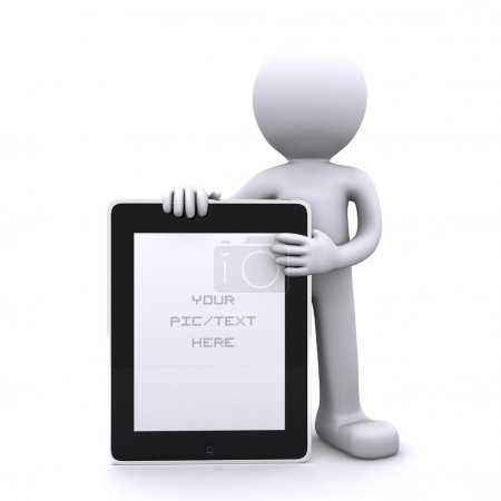 Photo for 3D man holding a blank tablet pc. Advertising concept. Isolated - Royalty Free Image