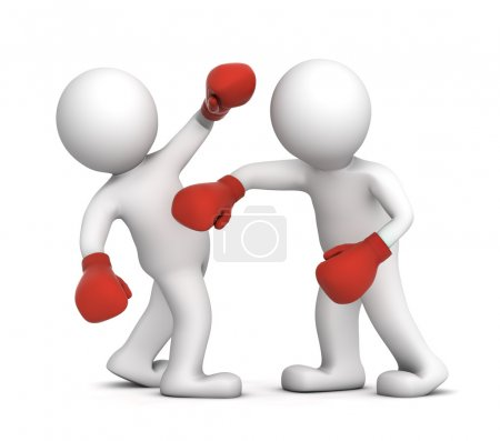 Two boxers during the boxing