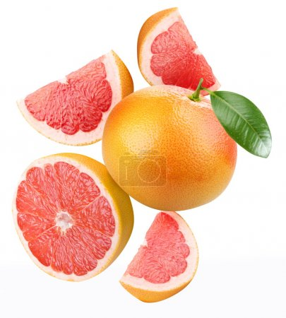 Photo for Falling grapefruit and grapefruit slices. Isolated on a white. - Royalty Free Image