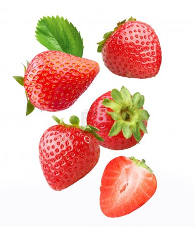 Photo for Falling strawberries. Isolated on a white background. - Royalty Free Image