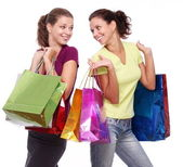 Two friends with shopping on a white background