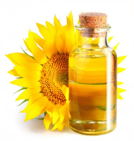 Bottle of sunflower oil with flower on a white background.