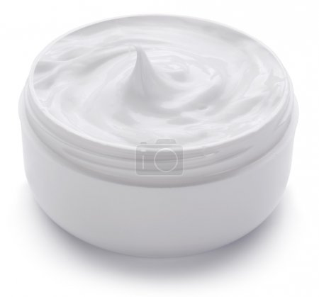 Jar with cosmetic cream.