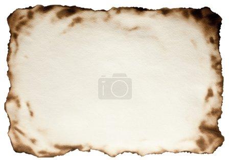 Photo pour Brûlé sur les bords papier texturé sur fond blanc isolé. Le fichier contient le chemin pour couper . - image libre de droit
