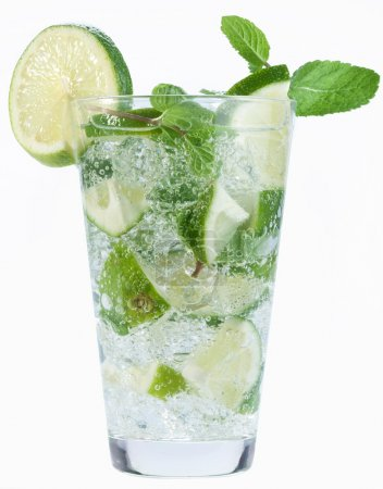 Cocktail with mint and lime on a white background.