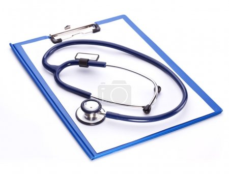 Medical stethoscope with a clipboard on a white background.