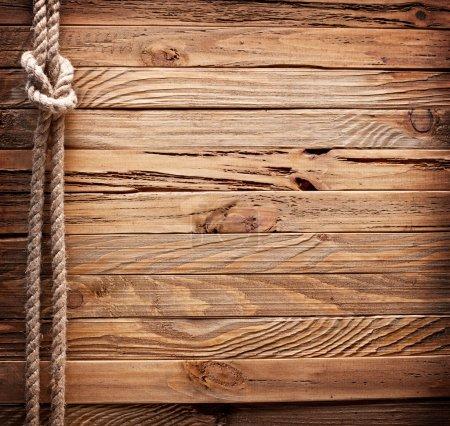 Photo pour Image d'anciens texture des planches en bois avec corde de navire. - image libre de droit