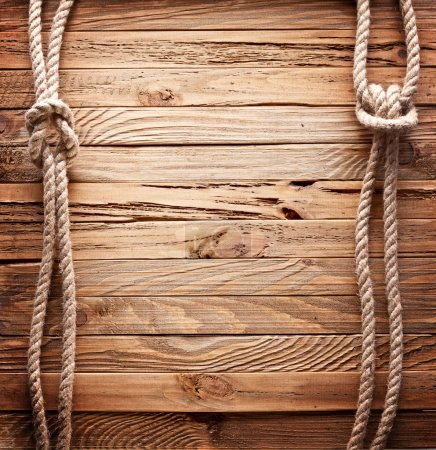 Photo for Image of old texture of wooden boards with ship rope. - Royalty Free Image