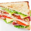 Sandwich with bacon and vegetables on white backgr...