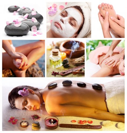 Photo for Collection of spa treatments and massages. - Royalty Free Image
