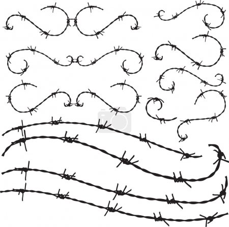 Floral style Barbwire ornament illustration...