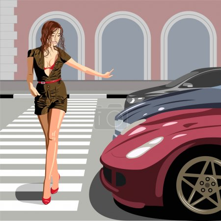 Illustration for Beautiful girl passing street - Royalty Free Image