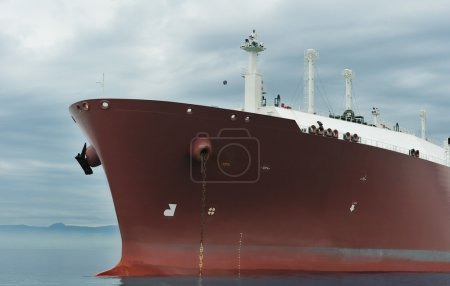 Photo for Bow of an anchored liquefied gas carrier - Royalty Free Image