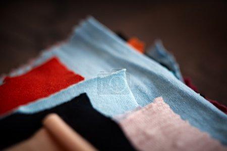 Tissue colored materials, closeup.