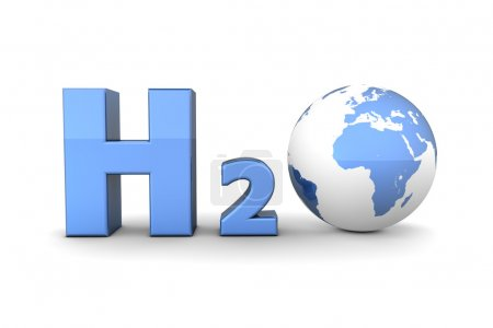 Global Hydrogen Oxide H2O - Shiny Blue