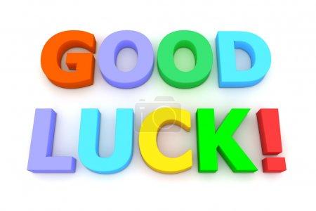 Multicoloured letters Good Luck! on white backgrou...