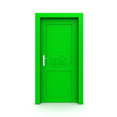 Closed Single Green Door