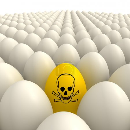 Field of Eggs - One Yellow Poison Sign Egg