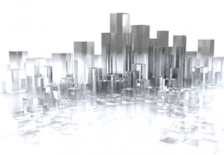 Photo pour Illustration 3D abstraite de la ville de verre sur fond blanc - image libre de droit