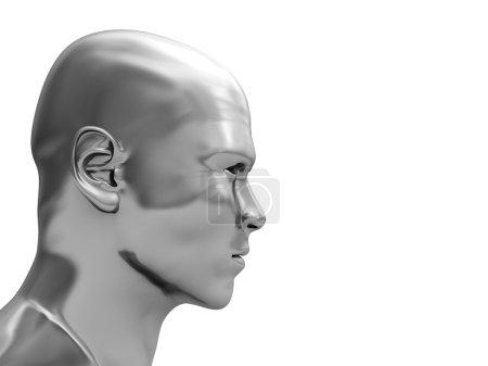 Photo pour Illustration 3D abstraite de la tête en acier isolée sur fond blanc - image libre de droit