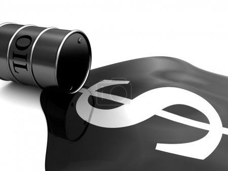 Photo pour Illustration 3D abstraite du baril de pétrole et du signe du dollar - image libre de droit