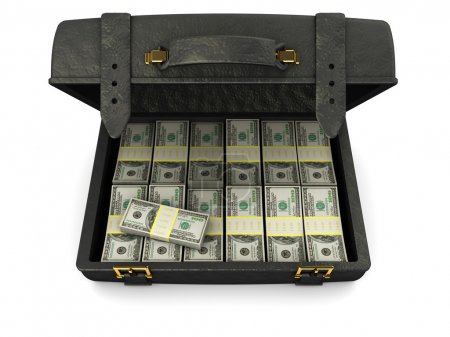 Photo for 3d illustration of black leather case full of money, over white background - Royalty Free Image