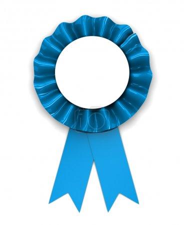 Foto de 3d illustration of blue ribbon award over white background - Imagen libre de derechos