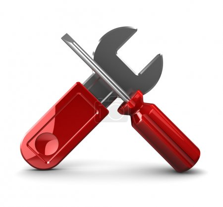Photo for 3d illustration of wrench and screwdriver crossed - Royalty Free Image