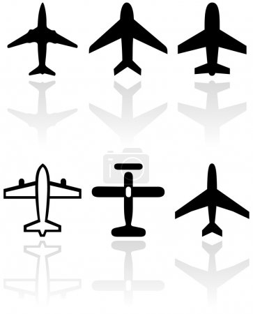 Airplane symbol vector set.