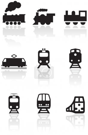 Train symbol vector illustration set.