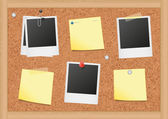 Vector illustration of bulletin board with blank notes and photos All objects are isolated Colors and transparent background color are easy to adjust