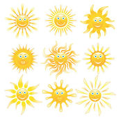Smiling shiny suns set