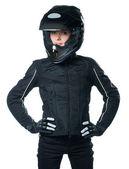 オートバイの衣類で若い女性