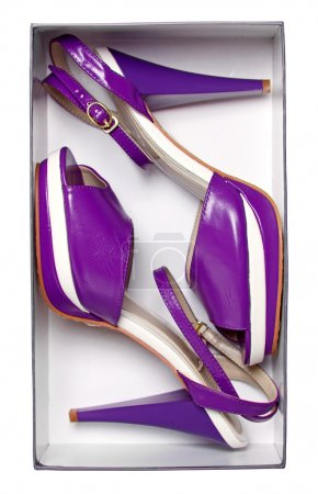 Female violet summer shoes in box isolated on white. With path