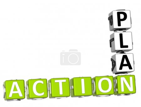 Photo for 3D Action Plan Crossword on white background - Royalty Free Image
