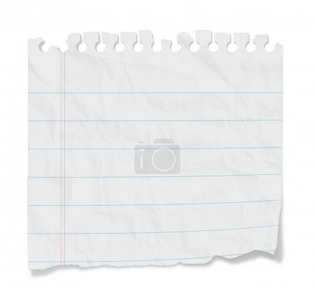 Photo for Torn blank lined paper from a notepad with shadows. Isolated on a white background with clipping path. - Royalty Free Image